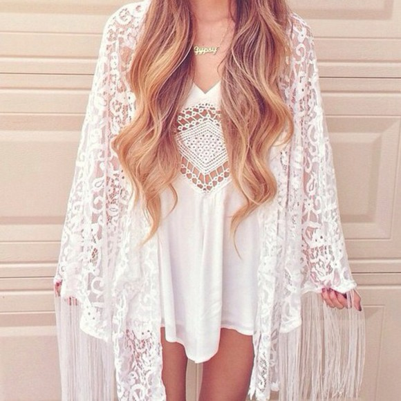 romper girly white dress cardigan kawaii kimono crochet lace white t-shirt