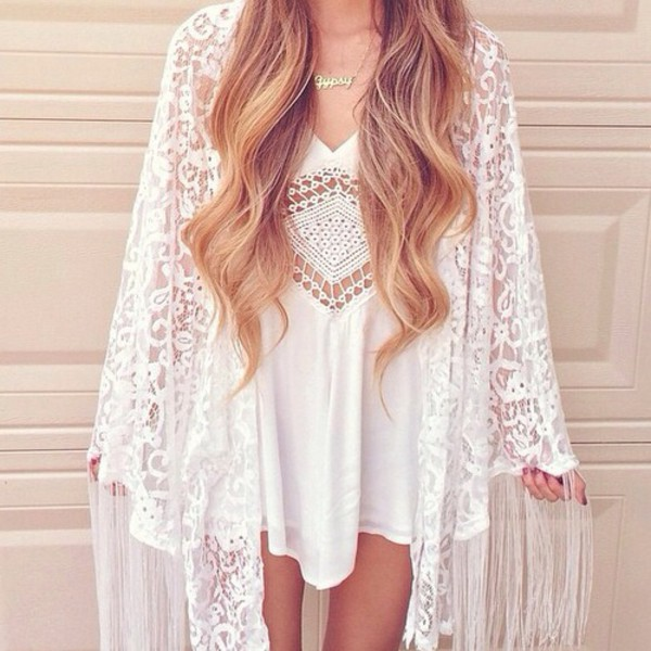 White Long Sleeve Sheer Lace Kimono - Sheinside.com