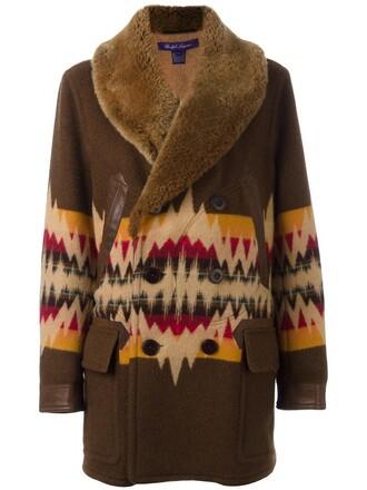 coat fur women leather cotton wool brown aztec pattern