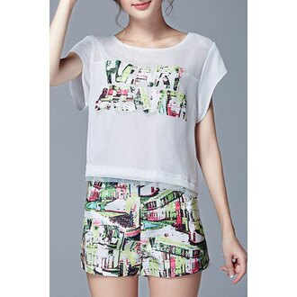 tank top top shorts twinset white green