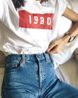 shirt art tumblr art hoe red 1980 art hoe tumblr t-shirt white white t-shirt retro vintage jeans