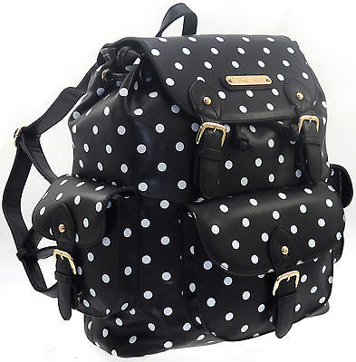 LARGE LADIES ANNA SMITH POLKA DOT SCHOOL COLLEGE SHOULDER BACKPACK RUCKSACK BAG