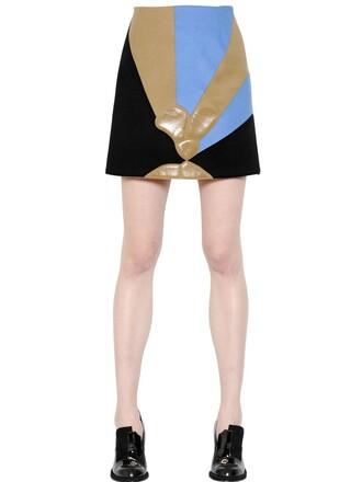 skirt wool black beige