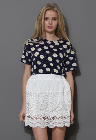 white skirt crochet delicate panel