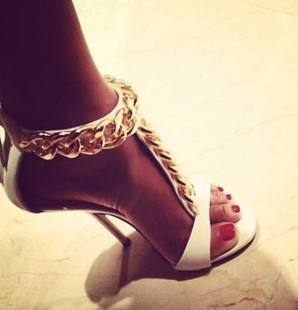 Shoes: high heel sandals, gold, white, high heels, gold chain ...