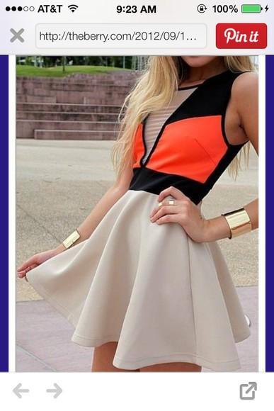 color block dress want want want orange dress tan
