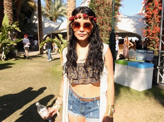 vanessa hudgens festival boho round sunglasses cropped denim shorts top sunglasses cardigan