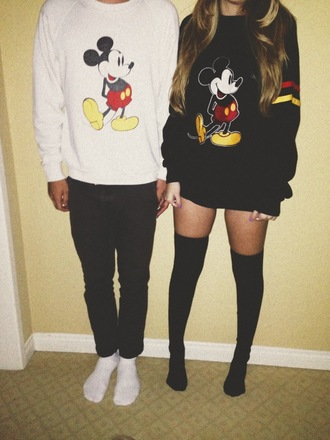 sweater mickey mouse his and hers long socks black long socks knee high socks black sweater gray sweater white sweater fall sweater fall outfits red yellow stripes red and yellow couple sweet couple underwear couple sweaters