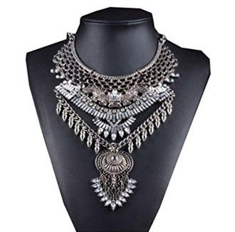 jewels sliver necklace bib tribal pattern egyptian