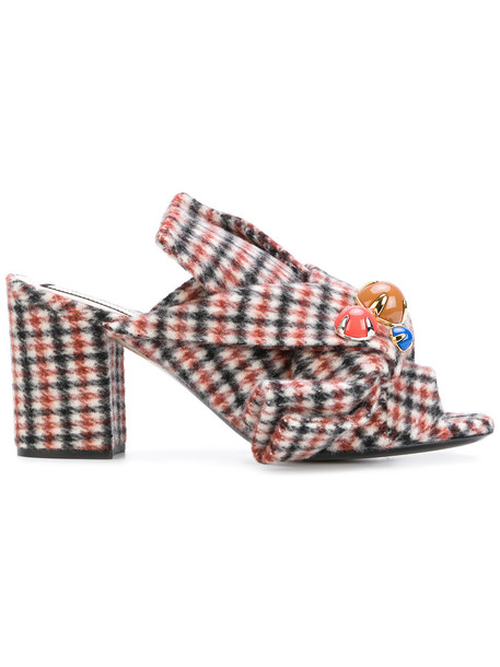 No21 women embellished mules leather plaid wool shoes