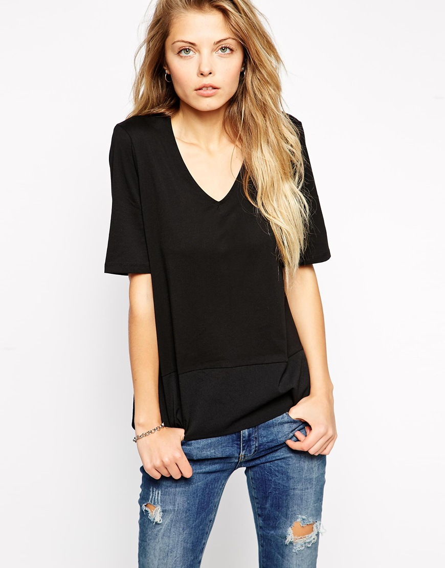 Shirt with chiffon hem at asos.com
