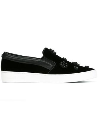 women sneakers leather black velvet shoes