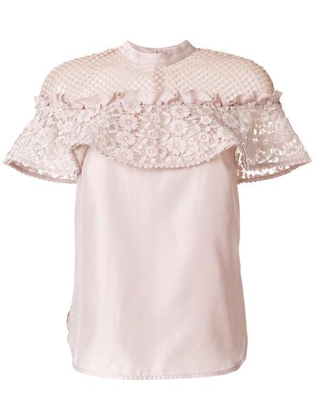 blouse women lace purple pink top