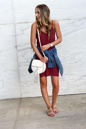 twenties girl style blogger dress jacket bag jewels cardigan scarf shoes shoulder bag summer dress denim jacket summer outfits sandals slip dress