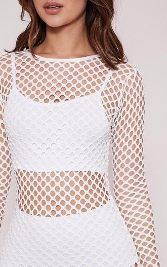 blouse mesh white cool cute bold fishnet top