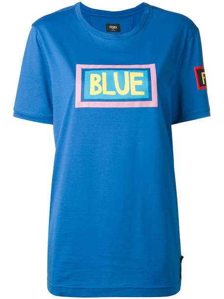 Fendi - Blue print T-shirt - women - Cotton - 46, Cotton