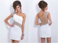 2014 popular white short one shoulder beading sheer back homecoming dresses prom gown