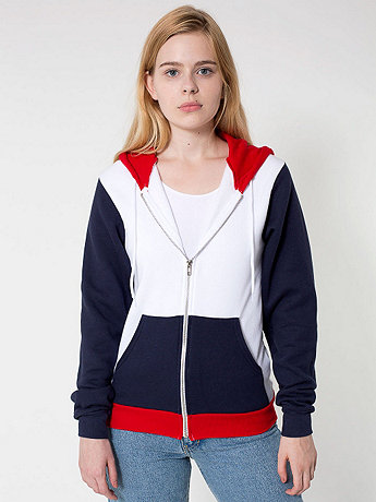 Unisex Flex Fleece Color Block Zip Hoodie | American Apparel