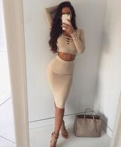 chic,beige,two-piece,all nude everything,nude top,dress,bodycon dress,beige dress,skirt,co ords,top,nude,two piece dress set,nude dress,beige skirt,creme,crop tops,crop,nude skirt,pencil skirt,long sleeve crop top,long sleeves,long sleeve dress,lace up,lace up dress,bodycon,party dress,sexy party dresses,sexy dress,party outfits,cute dress,girly dress,date outfit,birthday dress,jumpsuit,nude cross over shirt tight pencil skirt