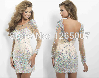 Aliexpress.com : Buy Scoop Neck Long Sleeves Sparkly Rhinestone Beaded Mini Short Sheath Slim Little Homecoming Dress For Party New Fashion from Reliable dresses peach suppliers on SFBridal