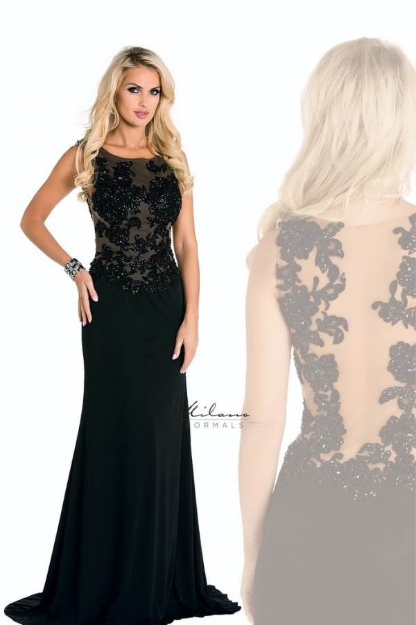 dress black dress mermaid sheer back lace applqiue beaded evening dress dress