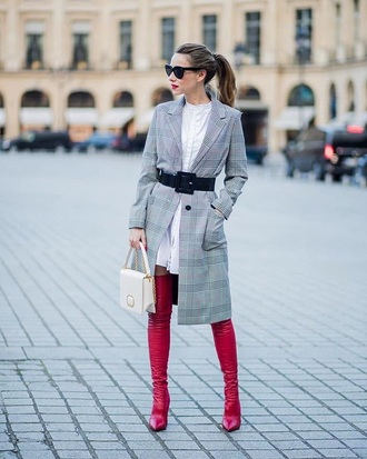 bag white bag coat grey coat plaid plaid coat boots red boots belt handbag