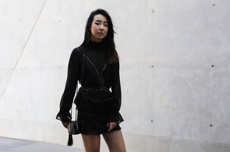 kristy who blogger top skirt bag blouse black blouse mini skirt ysl bag