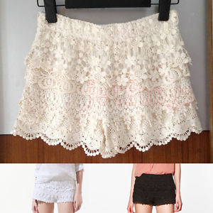 Women Crochet Floral Tiered Lace Elastic Waist Shorts Pants Mini Skort Skirt s L | eBay