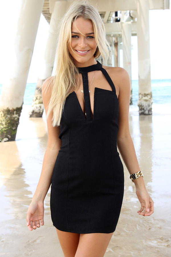 dress ustrendy dress ustrendy cut-out dress bodycon dress little black dress little black dress