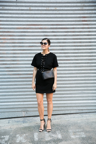 a pair and a spare blogger dress bag sunglasses black dress lace up dress mini dress lace up heels date outfit summer outfits all black everything