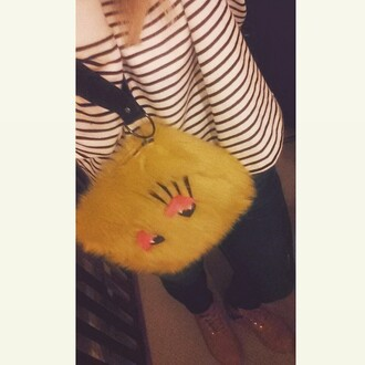 bag clutch fluffy monster lime wacky weird love flogger zara