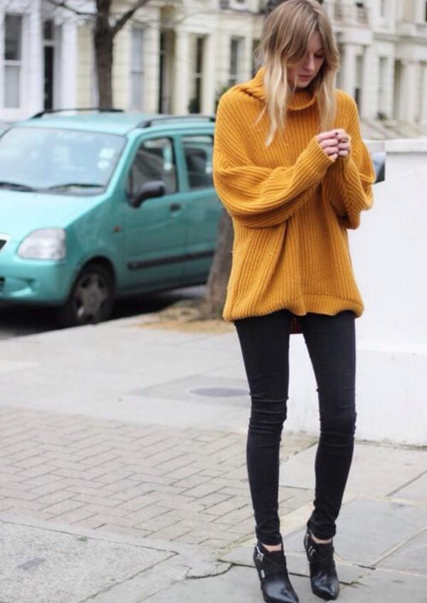 Mustard Oversized Turtleneck Sweater - Shop for Mustard Oversized ...
