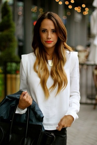 shirt grey white red red lip leather pants leather black celine celine bag ombre ombre hair t-shirt top structured shoulder pads