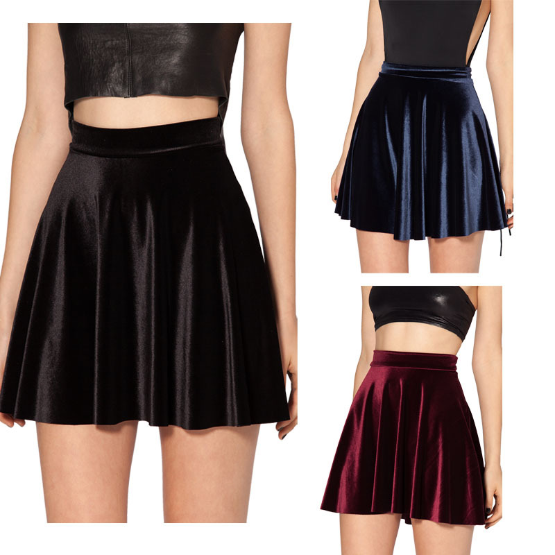 2014 winter skirt black milk vintage velvet skirt velvet black skater skirt high waist skirt saias femininas