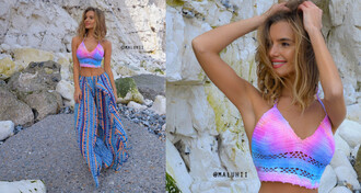 top crochet crop top crochet crochet top tie dye top tie dye maluhii colourful crochet top crochet bikini crochet bra top