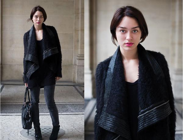 black jacket shearling jacket