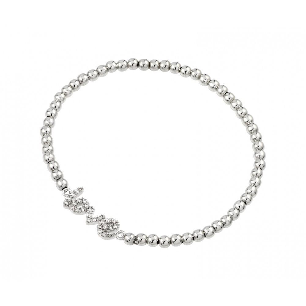 Sterling silver crystal love beaded stretch bracelet