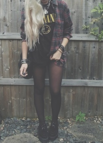 shoes shirt black burgundy dark socks tights boots nirvana