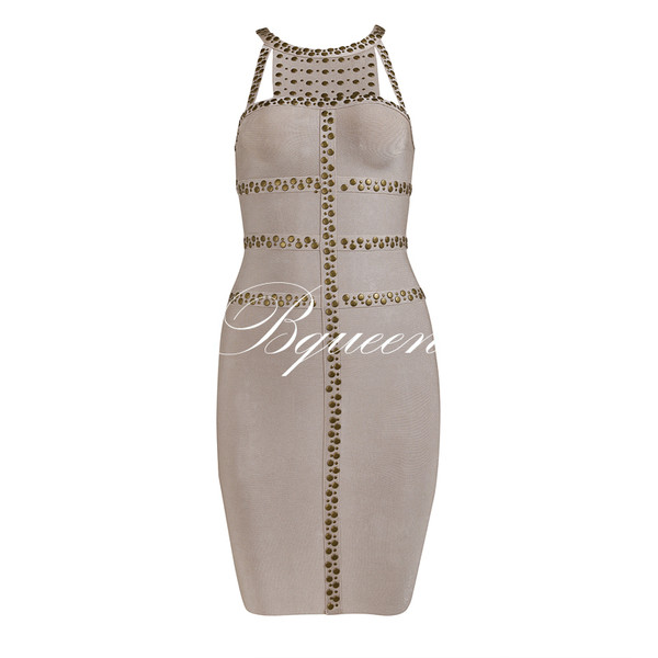 dress dress bqueen party bandage chic bodycon fashion girl sexy apricot beaded halter neck