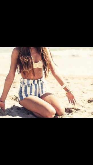 blue and white striped stripped shorts High waisted shorts blue shorts white shorts cute