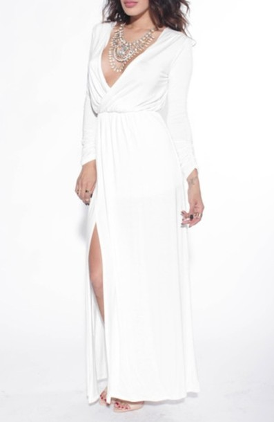 dress, white, prom, long, maxi, long sleeves, long prom dress, gown ...