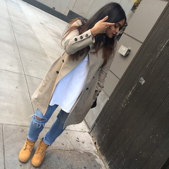 jacket tan coat winter coat trench coat jeans