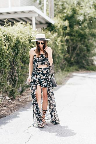 top skirt floral skirt hat tumblr matching set floral floral top crop tops maxi skirt sandals gladiators sun hat shoes