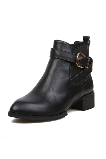 Chic Black Belted Boot with Fuzz [FABI1378] - PersunMall.com