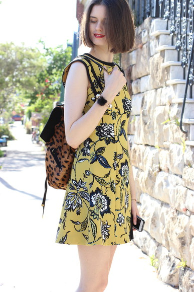 blogger animal print jewels dress by chill backpack floral