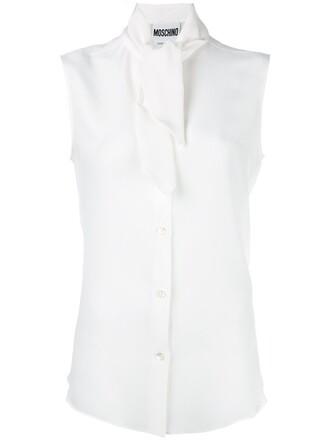 blouse sleeveless women white silk top