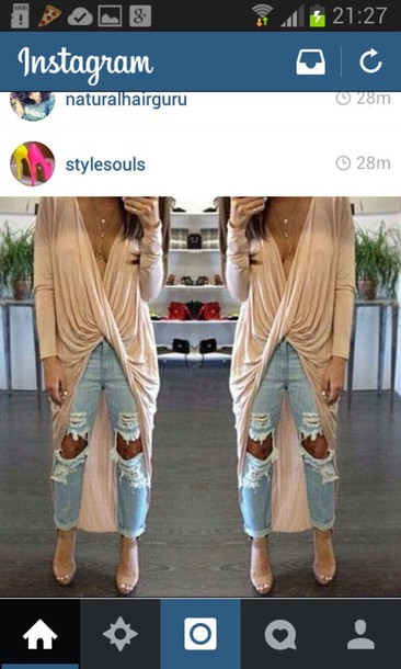 top long oversized jeans