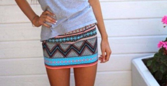 pattern aztec tube skirt tight skirt mini skirt