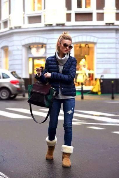 shoes winter jacket winter shoe blue skinny jeans bag