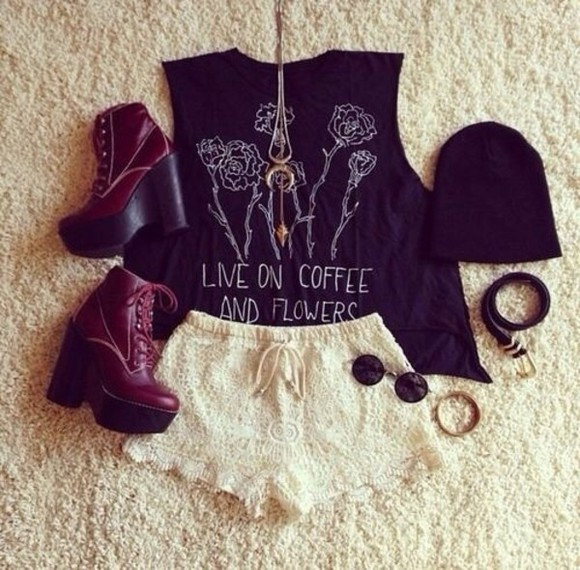 shorts lace shorts shirt necklace shoes t-shirt heels beanie sunglasses bracelets